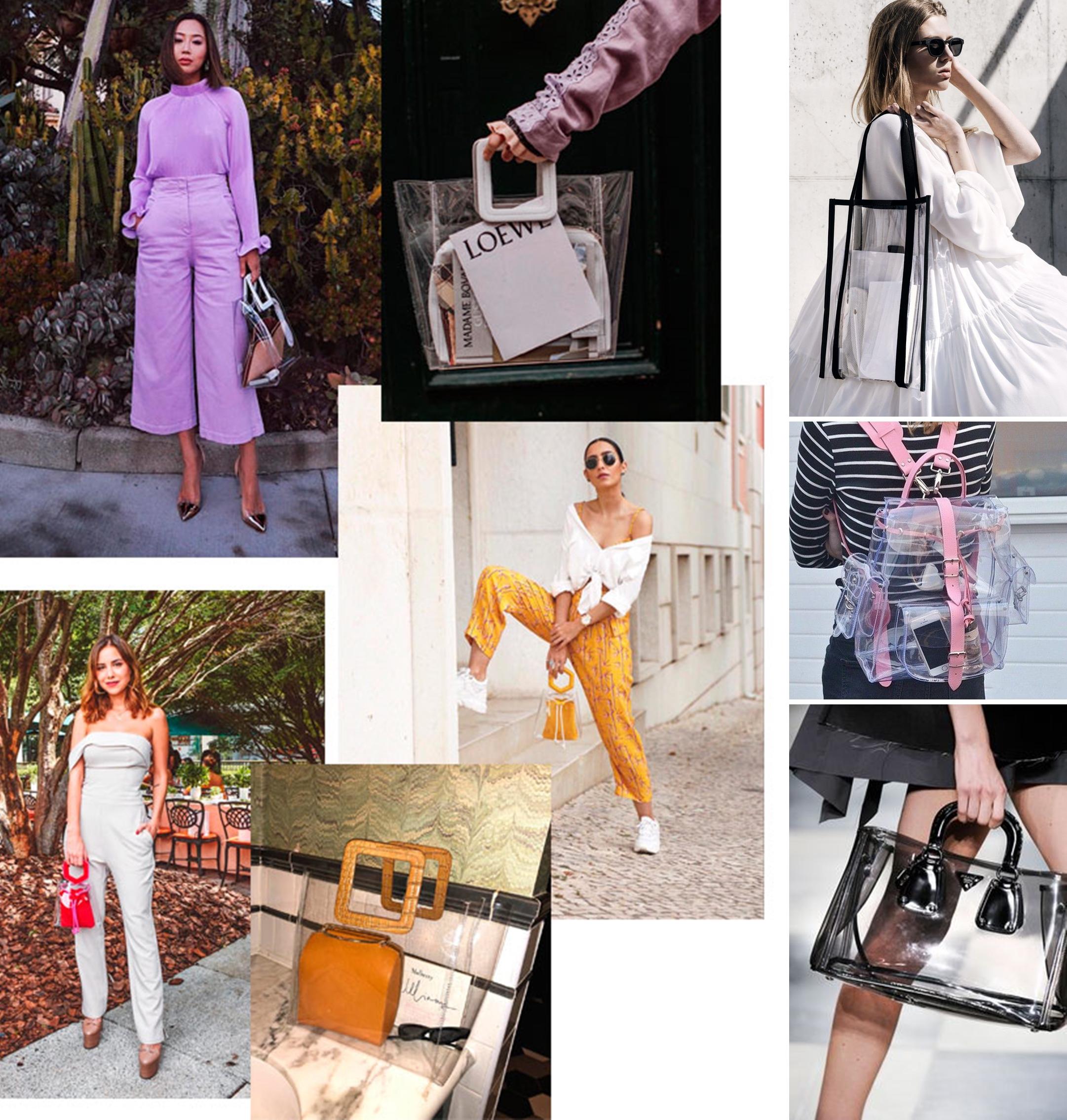 Os modelos podem ser total transparentes e moderninhos, deixando os  pertences à mostra como um charme extra, ou com mini bolsas coloridas,  estampadas ou em ... 5b723ab94c